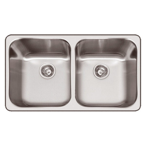 The Daintree Inset Double Bowl Sink 796 x 475mm 1 Tap Hole Semi-Satin [068146]