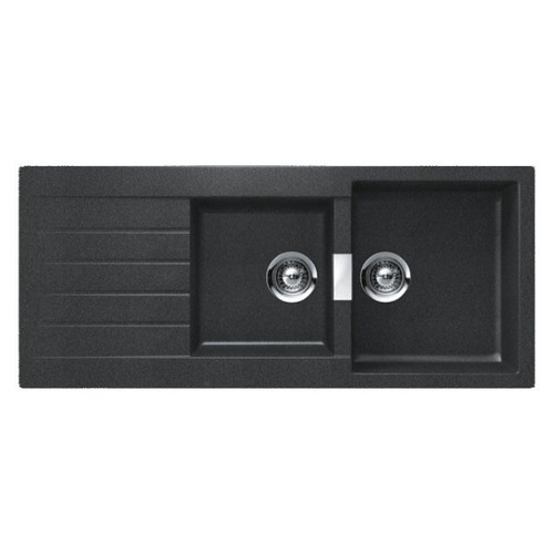 Schock 1 & 3/4 Double Bowl Sink with Drainer 1160 x 500mm No Tap Hole Black [118198]