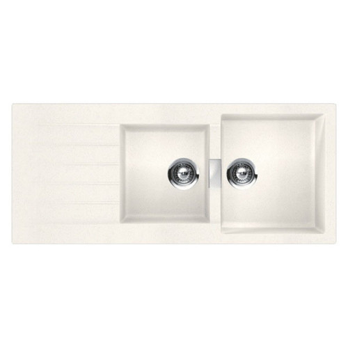 Schock 1 & 3/4 Double Bowl Sink with Drainer 1160 x 500mm No Tap Hole White [118199]