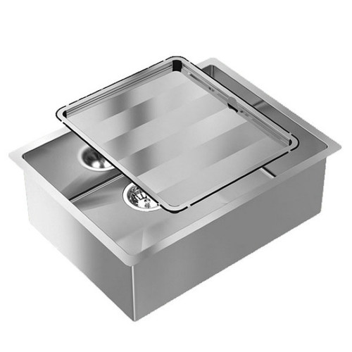 Piazza Single Square Bowl Sink 590 x 450mm No Tap Hole No Drainer [118583]