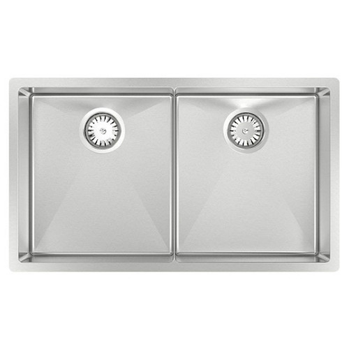 Piazza Double Square Bowl Sink 760 x 450mm No Tap Hole No Drainer [118585]