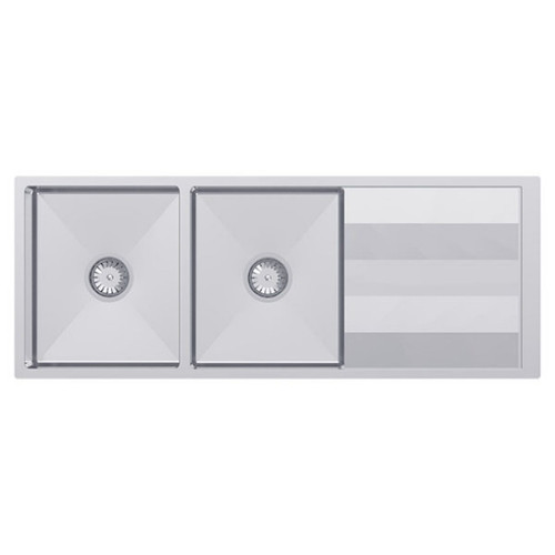 Lugano Double Bowl Sink with Drainer 1160 x 460 No Tap Hole Scotchbrite [133472]