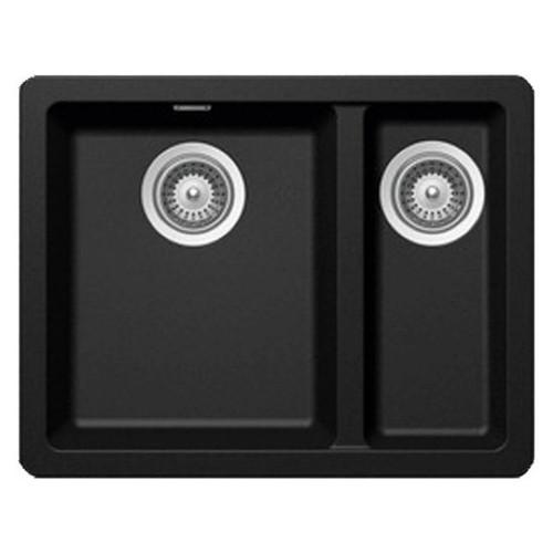 Schock Soho 1 & 1/3 Double Bowl Sink 550 x 430mm No Tap Hole Black [133476]