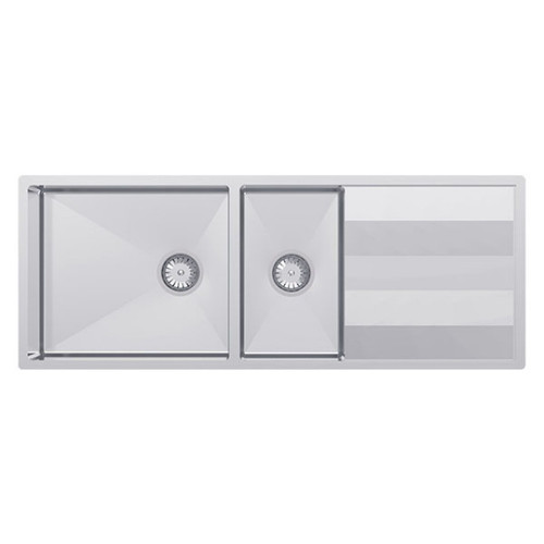 Lugano 1 & 3/4 Double Bowl Sink with Drainer 1160 x 460 No Tap Hole Scotchbrite [133473]