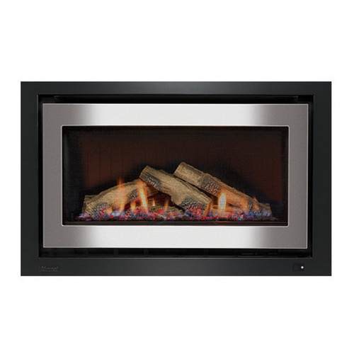 950 Inbuilt Gas Log Fireplace 8.1kW Natural Gas Stainless Steel on Black [139737]