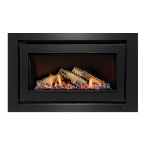 950 Inbuilt Gas Log Fireplace with Ceramic Stones 8.1kW LPG Black on Black [139740]