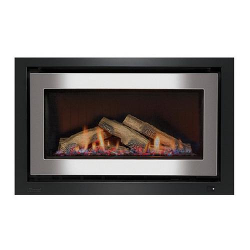 950 Inbuilt Gas Log Fireplace with Ceramic Stones 8.1kW LPG Stainless Steel on Black [139742]