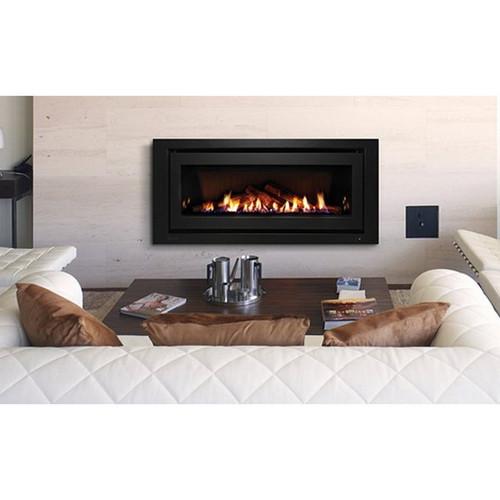 1250 Inbuilt Gas Log Fireplace with Ceramic Stones 8.4kW LPG Black on Black [139730]