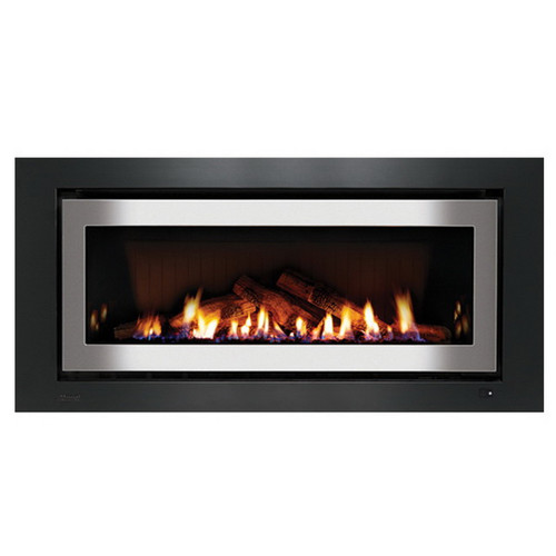 1250 Inbuilt Gas Log Fireplace with Ceramic Stones 8.4kW Natural Gas Stainless Steel on Black [139731]