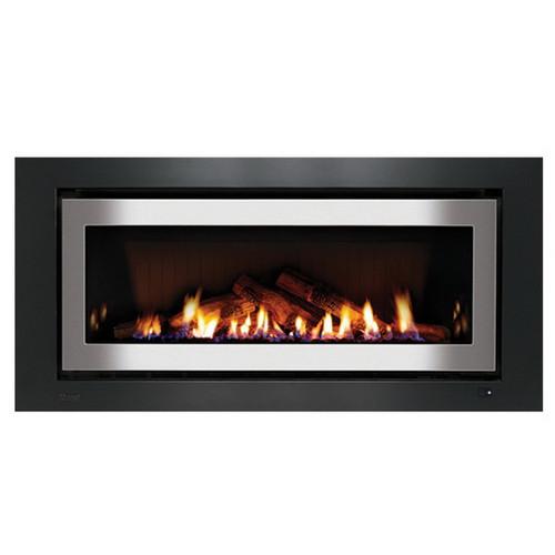 1250 Inbuilt Gas Log Fireplace with Ceramic Stones 8.4kW LPG Stainless Steel on Black [139732]