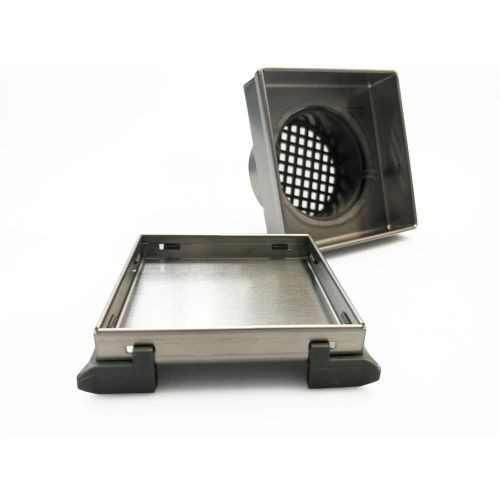 Shower Floor Grate Square 54mm x 100mm x 100mm Outlet 74mm Stainless Steel [169296]