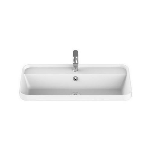 Miya Above Counter Semi-Inset Basin 550mm x 390mm x 143mm Matte White [169939]