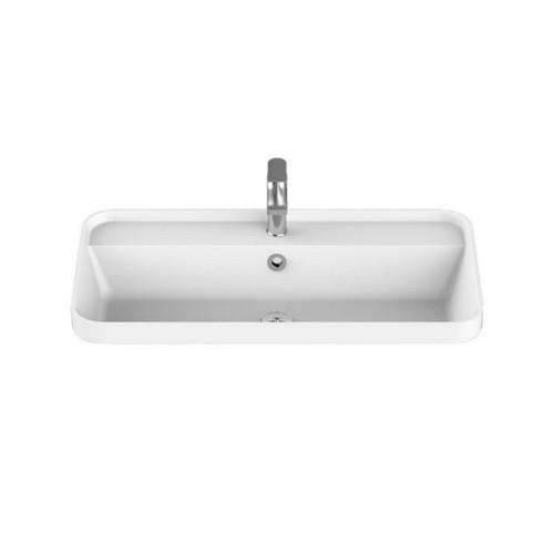 Miya Above Counter Semi-Inset Basin 750mm x 390mm x 143mm Matte White [169942]
