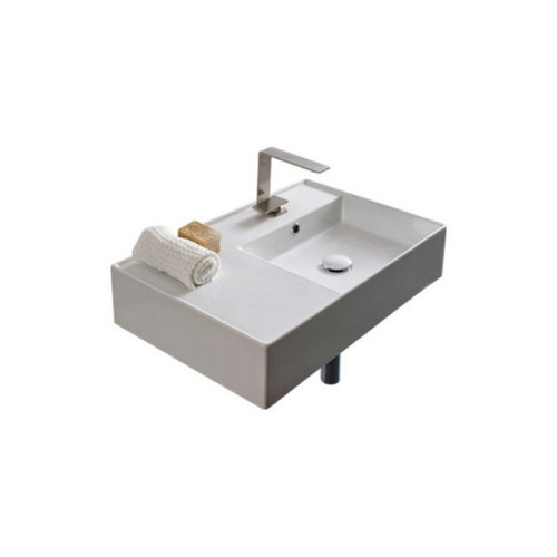 Teorema Wall Basin 600mm x 440mm x 140mm Right Offset Bowl Gloss White [169955]