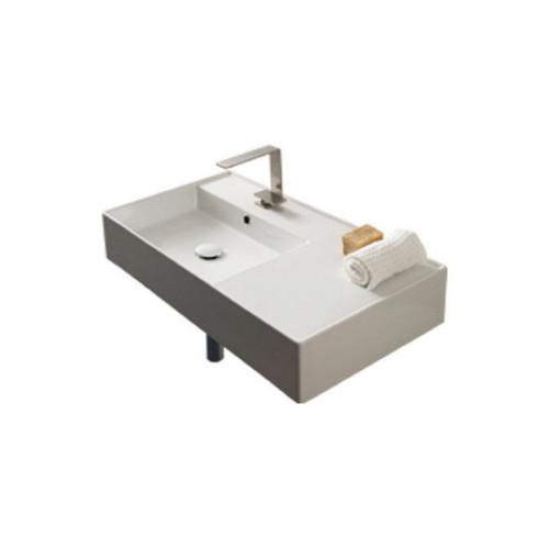 Teorema Wall Basin 810mm x 440mm x 140mm Left Offset Bowl Gloss White [169957]