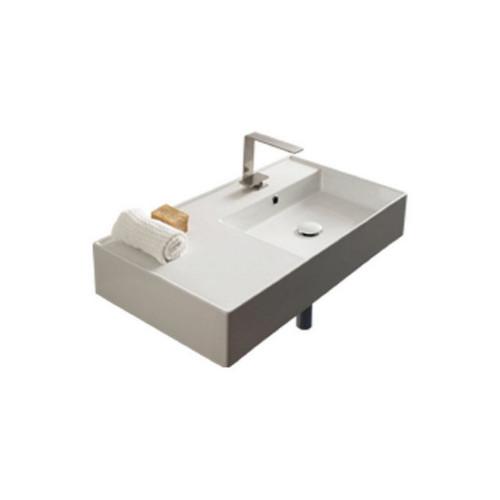 Teorema Wall Basin 810mm x 440mm x 140mm Right Offset Bowl Gloss White [169958]