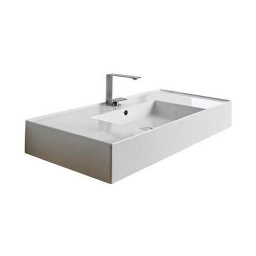 Teorema Wall Basin 1010mm x 460mm x 140mm Centre Bowl Gloss White [169959]