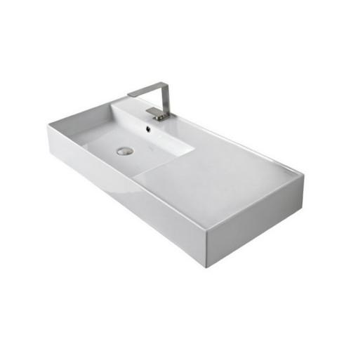 Teorema Wall Basin 1010mm x 460mm x 140mm Left Offset Bowl Gloss White [169960]