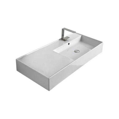 Teorema Wall Basin 1010mm x 460mm x 140mm Right Offset Bowl Gloss White [169961]