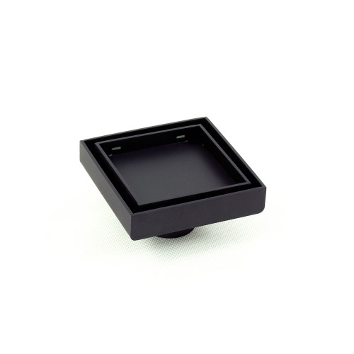 Shower Floor Grate Square 54mm x 100mm x 100mm Outlet 74mm Matte Black [181036]