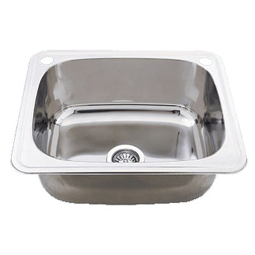 Classic 35L Utility Sink with By-Pass & Overflow 2 Tap Hole Stainless Steel [191425]