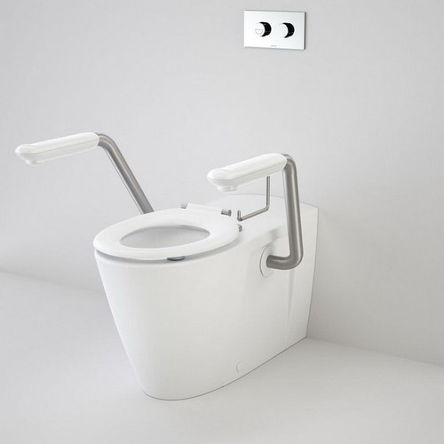 Care 800 Invisi Series II Toilet Suite Caravelle Double Flap Seat + Arm Rest White [192001]