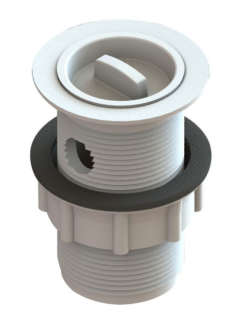 Plug and Waste 32mm x 90mm Plastic with Rubber Plug. With Overflow.White [118121]