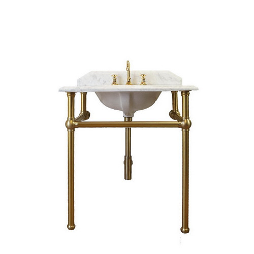 Mayer 750 Basin Stand Brushed Brass + Marble Top 1 Tap Hole [251169]