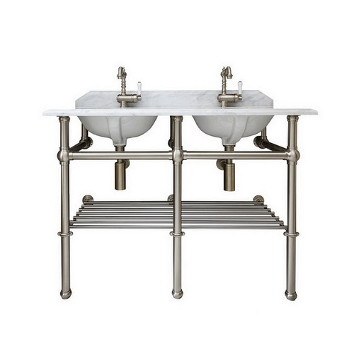 Mayer 1200 Double Basin Stand Brushed Nickel + Marble Top 1 Tap Hole [251210]