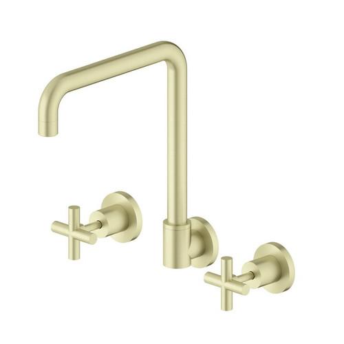 X Plus Wall Sink Tap Set Brushed Gold [254050]