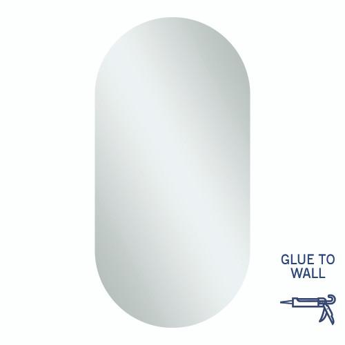 Duke Pill Shape Polished Edge Mirror 500 x 1000mm Glue-to-Wall [254358]