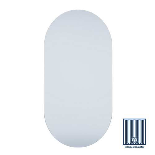 Duke Pill Shape Polished Edge Mirror 500 x 1000mm Glue-to-Wall & Demister [254359]