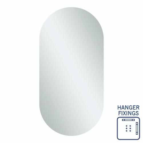 Duke Pill Shape Polished Edge Mirror 500 x 1000mm with Hangers [254360]