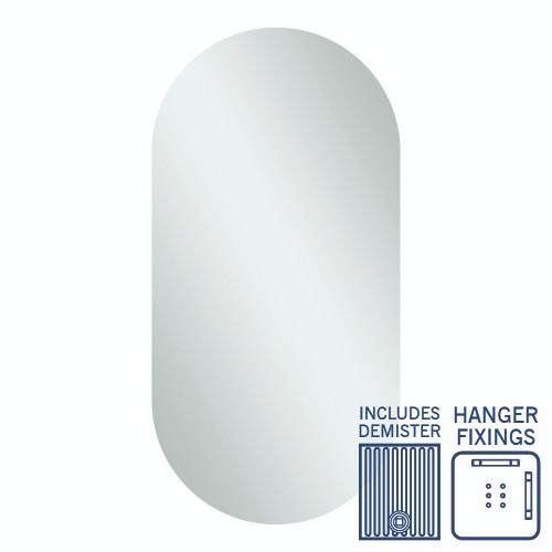 Duke Pill Shape Polished Edge Mirror 500 x 1000mm with Hangers & Demister [254361]