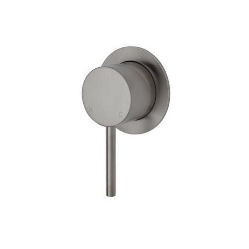 Kaya Wall Bath/Shower Mixer Small Round Plate PVD Brushed Nickel [201606]