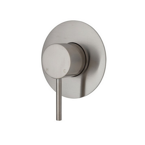 Kaya Wall Bath/Shower Mixer Large Round Plate PVD Brushed Nickel [201607]