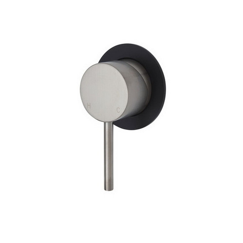 Kaya Wall Bath/Shower Mixer Small Round Plate PVD Brushed Nickel with Matte Black Plate [201608]
