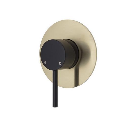 Kaya Wall Bath/Shower Mixer Large Round Plate Matte Black with PVD Urban Brass [201611]