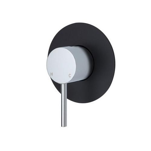 Kaya Wall Bath/Shower Mixer Large Round Plate Polished Chrome with Matte Black Plate [201613]