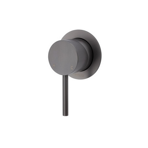 Kaya Wall Bath/Shower Mixer Small Round Plate PVD Gun Metal [201614]