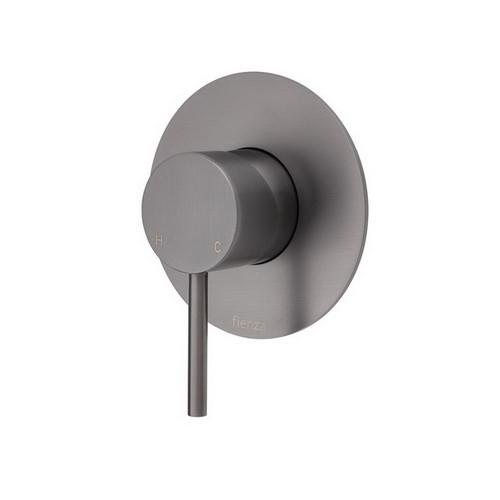Kaya Wall Bath/Shower Mixer Large Round Plate PVD Gun Metal [201615]