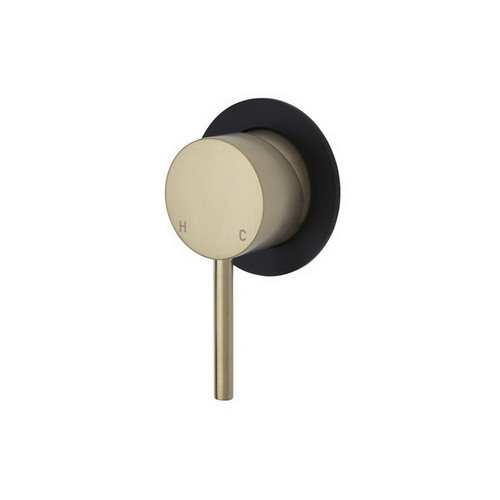 Kaya Wall Bath/Shower Mixer Small Round Plate PVD Urban Brass with Mate Black Plate [201620]