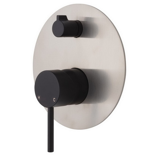 Kaya Upright Wall Diverter Mixer Large Round Plate Matte Black with PVD Brushed Nickel Plate [201626]
