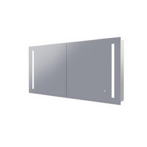Amber 1200 LED Mirror Cabinet 2 Double Sided Mirror Doors Silver Aluminium [254977]