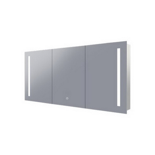 Amber 1500 LED Mirror Cabinet 3 Double Sided Mirror Doors Silver Aluminium [254978]