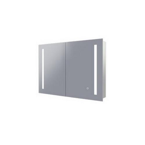 Amber 750 LED Mirror Cabinet 2 Double Sided Mirror Doors Silver Aluminium [254979]