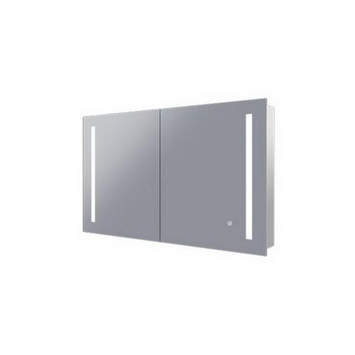 Amber 900 LED Mirror Cabinet 2 Double Sided Mirror Doors Silver Aluminium [254980]