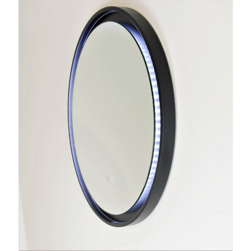 Eclipse 600 Frontlit Round LED Lighting Mirror with Demister Dimmable Matt Black MDF Frame [254989]