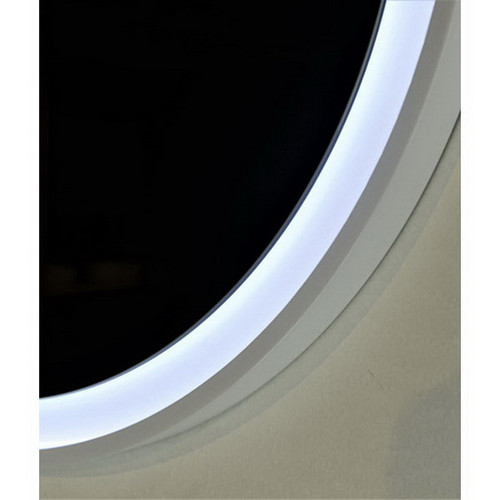 Eclipse 600 Frontlit Round LED Lighting Mirror with Demister Dimmable Matt White MDF Frame [254990]