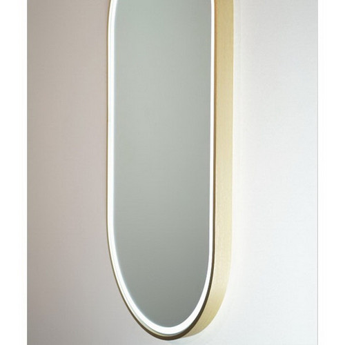 Gatsby 460 Vertical LED Lighting Mirror with Demister Brushed Brass Aluminium Frame [254996]